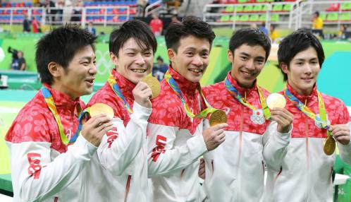 体操男子団体金メダル