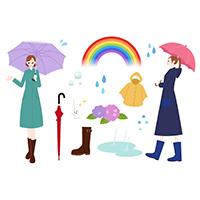雨グッズと女性